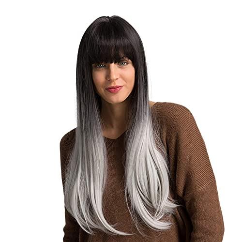 L&B-MR Pelucas 24 Pulgadas Natural Larga Larga Cabeza Completa Pelucas Halloween Mujeres Cosplay Traje Partido Peluquería con Flequillo Neat, Ombre Negro Gray