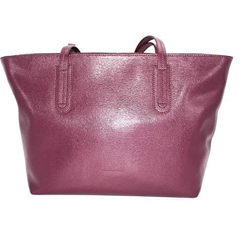 Coccinelle Borsa a spalla modello shopping in pelle saffiano di colore bordeaux, doppio manico e tasche interne. E1EC6110301. BIOSABORSE