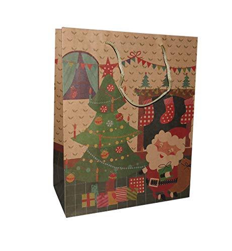 Set van 12 grote natuurlijke kraft papier Kerstman bij de kerstboom geschenkzakken met traditionele gift tag stickers pakketten