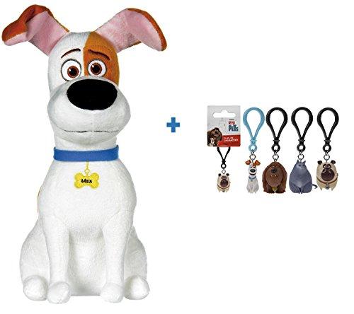 """SECRET LIFE OF PETS Pets - Vita da Animali (The Max, cane bianco con macchie marroni 11,42""""/29CM + 1 ud PORTACHIAVI PVC Personaggi del film."""