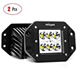 Nilight 2PCS 18W Spot LED Work Light Driving Lights Led Light Bar Off Road Led Lights Flush Mount for Jeep Truck Tacoma Bumper ATV UTV,2 Years Warranty