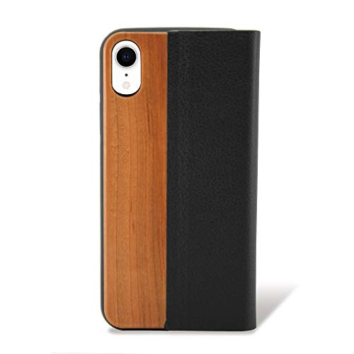 ホワイトナッツ iPhoneXR 手帳型 ウッドケース ブラウン ケース カバー アイフォンテンアール 木製 天然木 木目 カードホルダー スタンド おしゃれ ナチュラル スリム 薄型 wn-0001367-yk