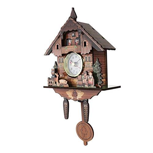 Homie Reloj de Cuco Montaje Reloj de Pared de Madera Reloj Despertador Tiempo de suspensión Reloj analógico oscilante Reloj depéndulo Decoraciones para el hogar, 010