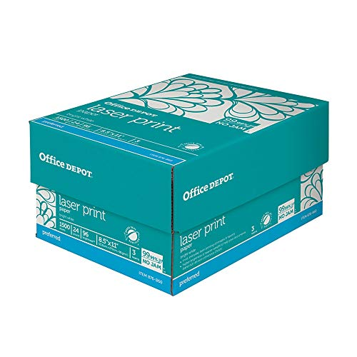 Office Depot Laser Print Paper, 8 1/2in. x 11in, 24 Lb, 30% Recycled, 500 Sheets Per Ream, Case of 3 Reams, 751440