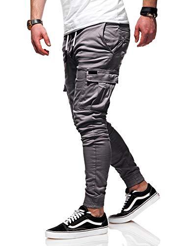behype. Herren Cargo Chino-Hose Jogger Jeans-Hose 80-8393 Dunkelgrau W32