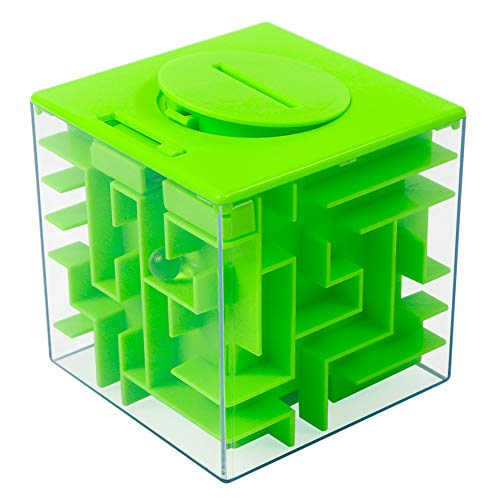 Twister.CK Money Maze Puzzle Box, Creative and Fun Way to Give Small Gift, Maze Money Bank for Kids as Brithday (Green)