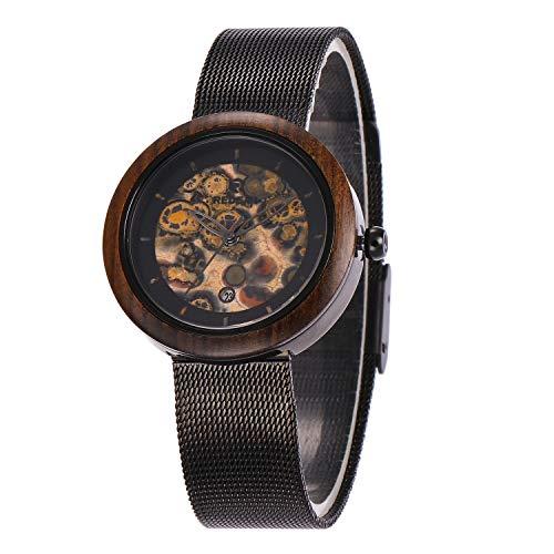 Orologio da uomo Reloj de Madera: Esfera de sándalo Precioso, Reloj Deportivo de Cuarzo for Negocios, Saludable, Buena Suerte, Romance, for su Pareja, cinturón de Malla