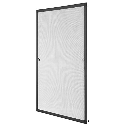 Juskys Fliegenschutzgitter für Fenster mit Aluminium Rahmen | 110 x 130 cm | anthrazit | Fliegengitter Fliegenschutz Insektenschutz
