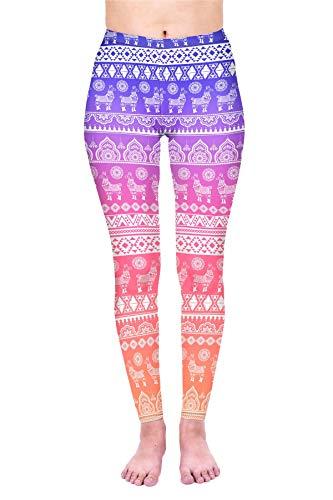 Kukubird Trendy Cute Llama Design Women's Yoga Leggings Gym Fitness Running Pilates Stretchable