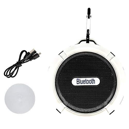 QAZW Mini Radio estéreo de Manos Libres-Radio de Ducha Bluetooth HD Microfono Manos Libres Altavoz Portati Inalambrico con Ventosa Extraíble para Playa, Ducha, Viaje y más,White