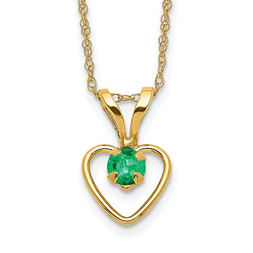 14k Yellow Gold 3mm Green Emerald Heart Birthstone Chain Necklace Pendant Charm Fine Jewelry For Women Gifts For Her