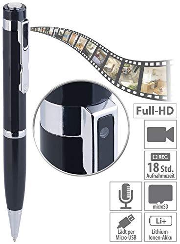 Somikon Kugelschreiber Kamera: Kugelschreiber-Videokamera mit Blauer Mine und Foto-Funktion, Full HD (Kamera Stift)