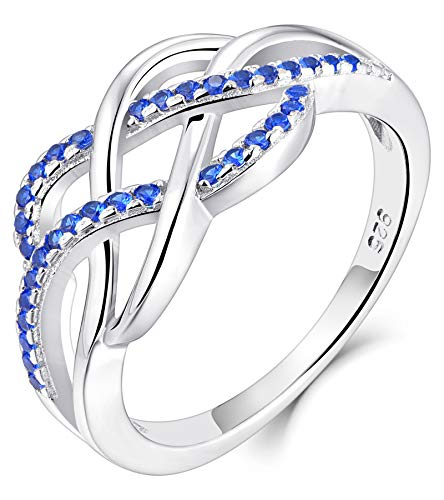 YL Celtic Knot Rings 925 Sterling Silver Twisted Knot Ring 18k White Gold Plated Created Sapphire Infinity Statement Rings