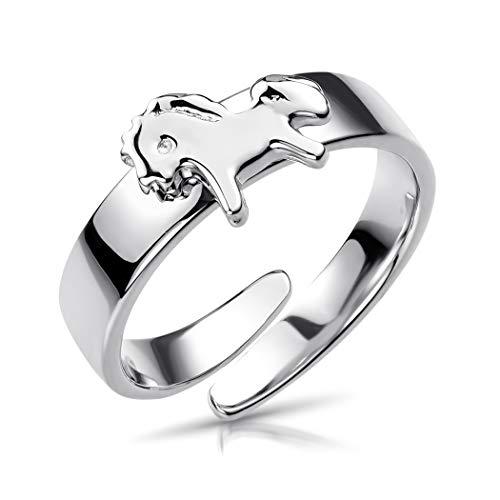 MATERIA Kinder Ring Delphin Pferdchen 13-16mm verstellbar - Mädchen Schmuck 925 Silber rhodiniert SR-159-P_Pferdchen