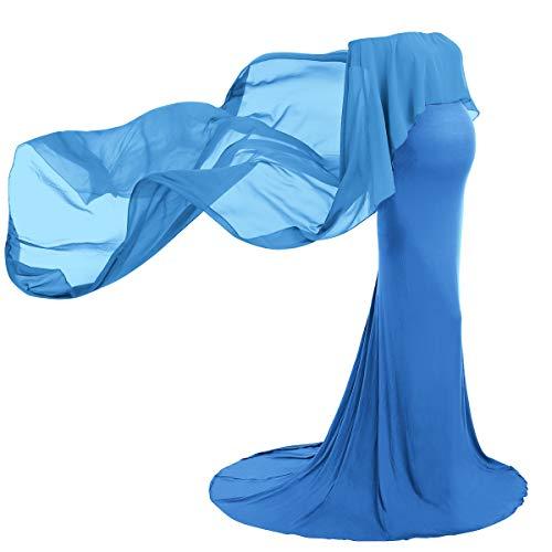 FYMNSI Umstandskleid Schwangere Elegante Fotografie Stützen Mutterschaft Schulterfreies Langes Abendkleid Damen Chiffon Umhang Hochzeit Maxikleid Fotoshooting Umstandsmode Kleidung Blau S