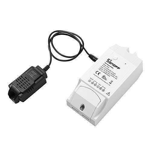 SONOFFTH10 with Si7021, 10A Interruttore Intelligente Luce WiFi con Monitoraggio della Temperatura e dell'umidità, Modulo Universale Fai-da-te per Casa Intelligente, è Compatibile con Amazon Alexa