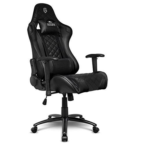 EMPIRE GAMING - Gamer-Stuhl Racing 700 Series, Schwarz - UltrabequemeRennsportform - Verstellbare 2D-Armstützen - einschließlichLenden- und Nackenkissen.