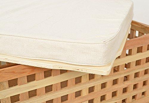 ts-ideen Sitzbank aus massivem Walnuss Holz mit Polster Badmöbel Wäschekorb Truhe - 5