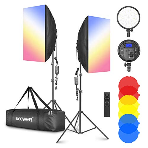"""Neewer 2-Pack 2.4GHz LED Softbox Lighting Kit with Color Filter — 20"""" × 28"""" Softbox,..."""