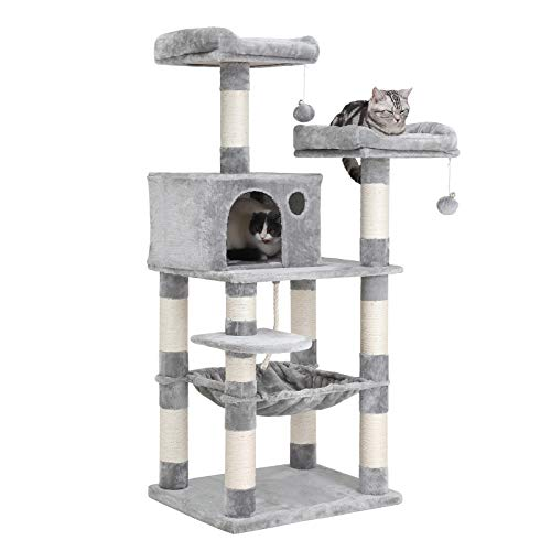 FEANDREA 56.3 inches Multi-Level Cat Tree with Hammock, Cat Tower for Large Cats UPCT15W