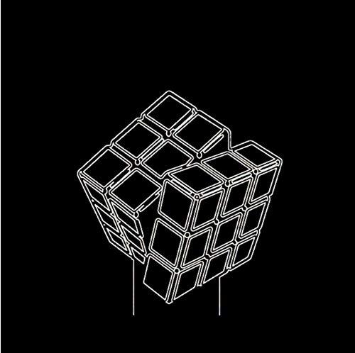 XINGXIAOYU Led Creative Kids Toy Gift 3D Diseño Innovador Visual Luces De Noche De Modelado De Cubos De Rubik 7 Colorido USB Botón Táctil Lámpara De Escritorio