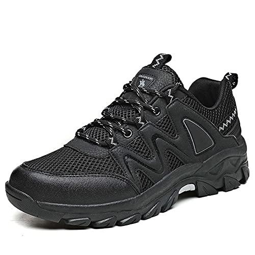 Unisexo Zapatos de Seguridad Hombre Mujer, Punta de Acero Zapatos Ligero Zapatos de Trabajo Respirable Construcción Zapatos Botas de Seguridad Anti-Deslizante Ultra Liviano,Negro,39