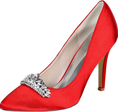 Zapatos de tacón para mujer con diamantes de imitación en punta de...