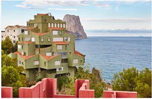 Rompecabezas De 1000 Piezas Costa Mediterránea Española En Alicante. Calpe La Manzanera Arquitectura para Adultos Adultos Adulto Hobby Decoración del Hogar DIY