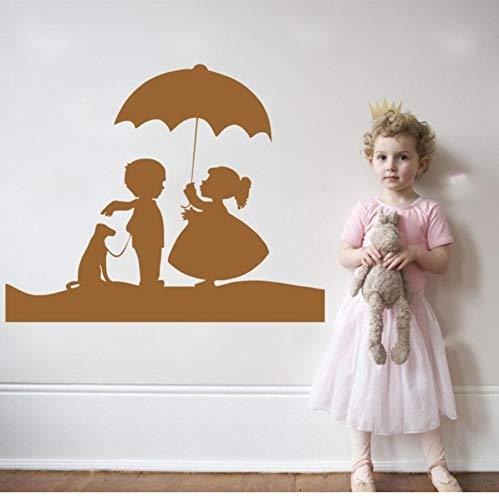 zwyluck schattige kleine meisje en boy met dog en paraplu Lovely Wall Decals Home Kids Nursery Bedroom Sweet Decor W