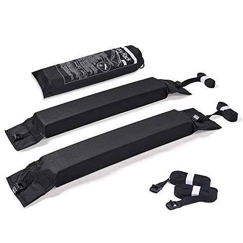 MICTUNING 2Pcs Universal Roof Rack Pads for Canoe Kayak Paddleboard Surfboard Snowboard Roof Lightweight Soft Roof Top Rack Pads with Storage Bag