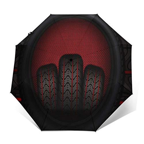 Regenschirm Taschenschirm Kompakter Falt-Regenschirm, Winddichter, Auf-Zu-Automatik, Verstärktes Dach, Ergonomischer Griff, Schirm-Tasche, Autoreifen Reifen Rot
