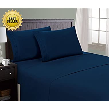 HC Collection Bed Sheet & Pillowcase Set HOTEL LUXURY 1800 Series Egyptian Quality Bedding Collection! Deep Pocket, Wrinkle & Fade Resistant,Luxurious,Comfortable,Extremely Durable(Queen, Navy Blue)