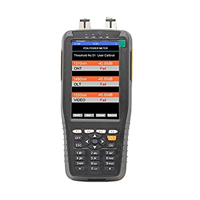 Qiirun TM70B PON Power Meter with 10mW Visual Fault Locator and Fiber Optical Power Meter Functions, 3 in 1 PON Tester for PON Network Construction and Maintenance