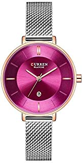 CURREN Watch Silver Stainless Steel and Purple Port Model C9037L