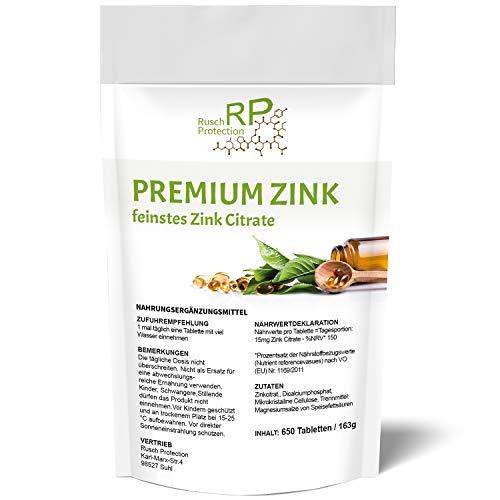 650 Tabletten - Premium Zink, feinstes Zink-Citrate, 100% Vegan und Hochdosiert, Zink-Tabletten Nahrungsergänzungsmittel aus Deutschland mit 15 mg bioverfügbarem Zink pro Tablette