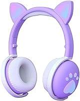 Cat Headphone BK-1 Bluetooth 5.0 ve Kablolu Kullanım Kulaküstü Kedi Kulaklık RGB Mor