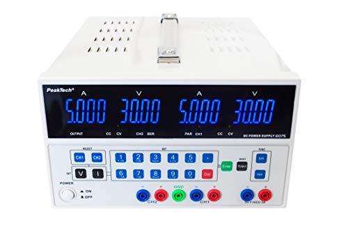 PeakTech 6075 – Fuente de alimentación con 2 salidas y USB, doble 0-30V / 0-5A, fuente de voltaje de CC, programable, a prueba de cortocircuito, conmutación estabilizada