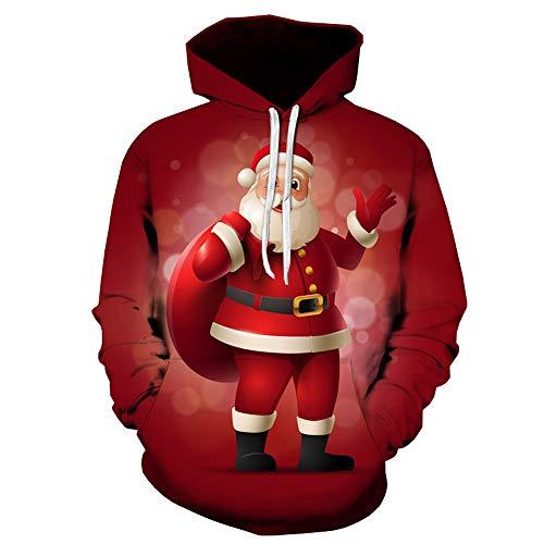 Fenverk Weihnachtspullover 3D Druck Pullover Weihnachten Ugly Christmas Sweater Kapuzen Sweatshirt Kapuzenpullis Mit GroßEn Taschen Herren Langarm Top Shirt FüR MäNner(rot,3XL)