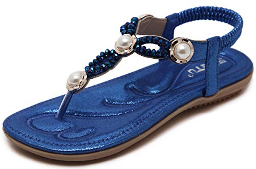 NEWQSING dames platte sandalen met strass-parel