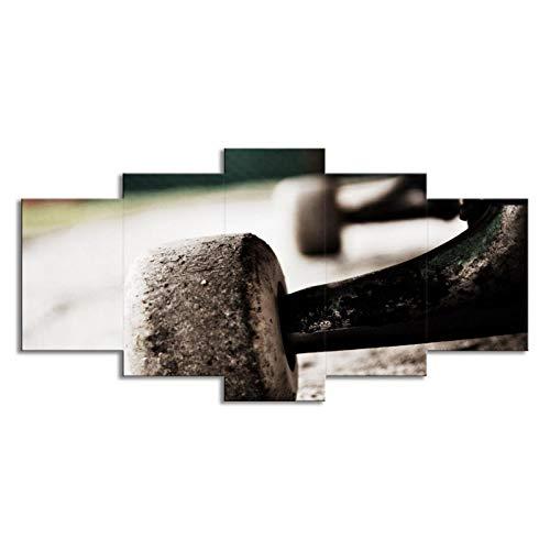 SLJZD Cuadro sobre Lienzo 5 Piezas Scooter Ejercicio Impresiones En Lienzo Múltiples Imágenes Impresión Digital Obra De Arte Cuadros Grandes Impresiones En Lienzo Pasillo Sin Marco 60 Inch