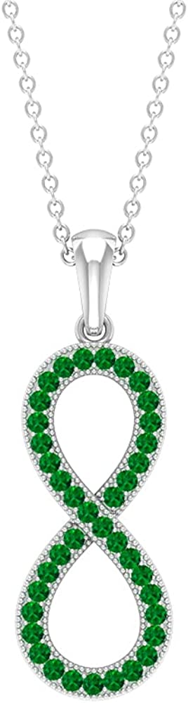 1 4 CT Infinity Popular brand Pendant Necklace AAA with Ranking TOP8 Pave Qual Set Emerald