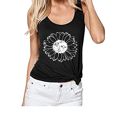 Jorlyen Sunflower Graphic Tank Tops for Women Yoga Workout Sport Summer Sunflower Print Vest Sleeveless Shirt Tee Black S