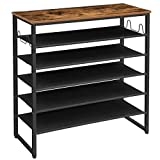 HOOBRO 6-Tier Shoe Rack, Shoe Shelf Organizer with Hooks and 5 Oxford Fabric Shelves, Holds 20-25 Pairs of Shoes, Stable Legs, Easy to Clean, Industrial, for Entryway, Living Room BF10XJ01