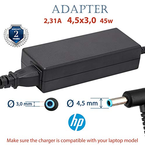 Cargador HP 19V 2.31 a 45w Pavilion EliteBook Split Spectre | Cable Ordenador Portatil Computadora | Adaptador Toshiba para Portátil Laptop Conector 45w Notebook | Cargadores Alternativo Original