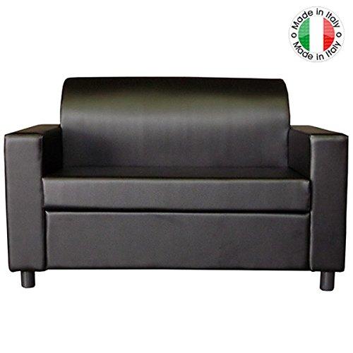BAKAJI Divano 2 POSTI con Braccioli Divanetto Attesa Poltrona Relax in Ecopelle Colore Nero Made in Italy