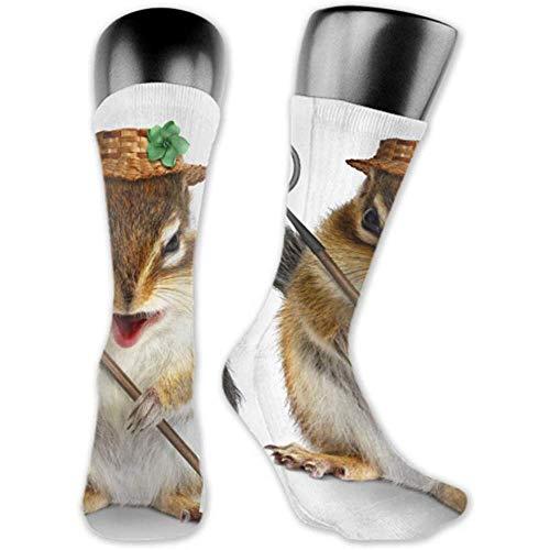 Socken Sind Bequem; Männer 'Sfunny Animal Farmer Eichhörnchen Hay Fork Medium Und Lange Socken