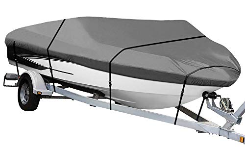NEXCOVER Boat Cover, Waterproof Heavy Duty Boat Covers Trailerable Runabout Boat Cover Fit V-Hull, TRI-Hull, Pro-Style, Fishing Boat, Runabout, Bass Boat, Storage Bag and Tightening Straps Included