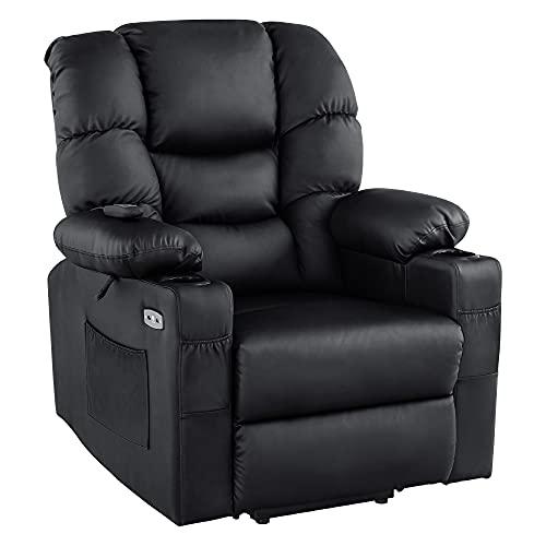 MCombo 7550 - Sillón de relax eléctrico con 3 motores independientes ajustables 750, posición reclinable hasta 170°, reposapiés alargado (negro)