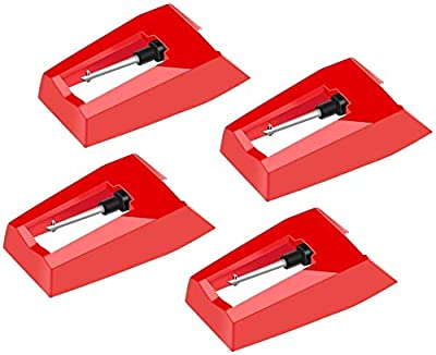 4 Pieces Record Player Needle Turntable Stylus Replacement with Ceramic Ruby NibTurntable Replacement Stylus Needles for Vinyl Record Player ION Crosley Victrola Pyle Phonograph, LP Player