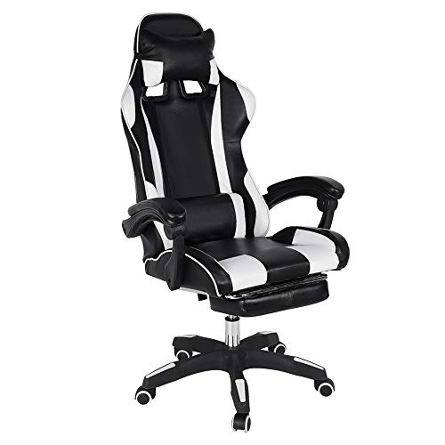Ergonomic Adjustable Video Gaming Chair,Office Chair High Back Computer Chair PU Leather Desk Chair PC Racing Executive Swivel Task Chair with Headrest and Lumbar Support